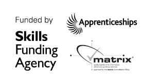 skills funding agency logo - apprentcieships logo - matrix logo